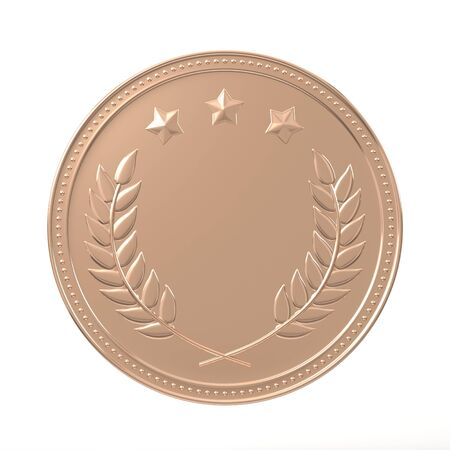 best employee: Bronze medal with laurels and stars. Round blank coin with ornaments. Victory, best product, service or employee, third place concept. Achievement in sports. Isolated on white background.
