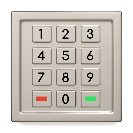 withdrawal: Atm machine keypad. Numbers buttons with additional red, yellow and green. Pin code safety, banking, electronic cash withdrawal, bank account access concept.