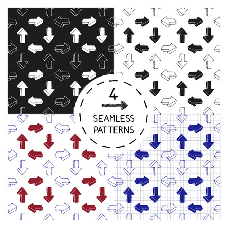 printables: Set of 4 seamless patterns with doodle arrows. Design elements for printables, wallpaper, corporate identity, web site wallpapers, fabric print. Vector illustration.