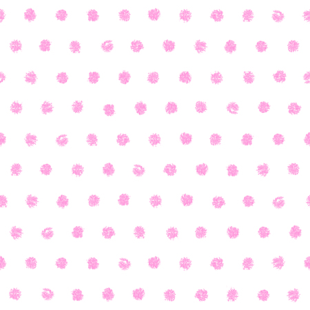 printables: Polka dot seamless pattern. Hand painted oil pastel crayon. Vintage baby pink color. Design element for printables, wallpapers, baby shower invitation, birthday card, scrapbooking, fabric print etc. Illustration