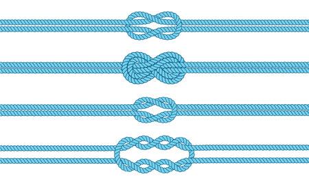 nudo: Divisores nudo marinero fijan. N�utico signo infinito cuerda. Frontera de la cuerda. Atar el nudo. Elemento de dise�o gr�fico para las invitaciones de boda, baby shower, tarjeta de cumplea�os, scrapbooking, logotipo, etc.