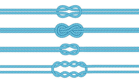 ropes: Sailor knot dividers set. Nautical rope infinity sign. Rope border. Tying the knot. Graphic design element for wedding invitations, baby shower, birthday card, scrapbooking, logo etc