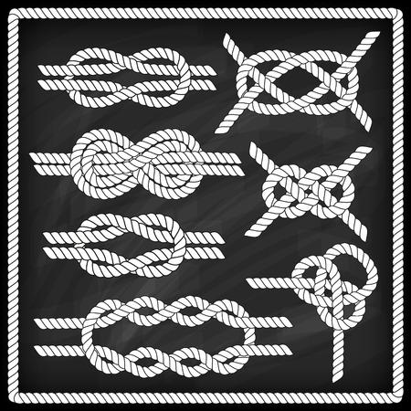 船員ノット セット。チョーク ボード効果。コーナーの要素。ロープのフレームの枠線。結び目を結ぶこと。結婚式の招待状、ベビー シャワー、誕