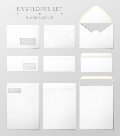 Three white envelopes set. Blank mockups in three views, front and back, open and closed. Transparent window in the front of each envelope can be removed. Full and folded A4 size. Vector illustration.