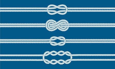 Diviseurs Sailor n?uds établis. Nautique signe corde de l'infini. Corde frontière. Attacher le noeud. Élément graphique de conception pour des invitations de mariage, baby shower, carte d'anniversaire, scrapbooking, logo, etc