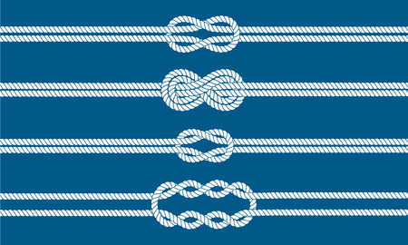 on the ropes: Sailor knot dividers set. Nautical rope infinity sign. Rope border. Tying the knot. Graphic design element for wedding invitations, baby shower, birthday card, scrapbooking, logo etc