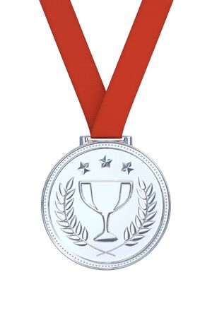 silver medal: Silver medal with laurels, stars and cup. Round blank coin with ornaments. Victory, best product, service or employee concept. Achievement in sports. Isolated on white background.