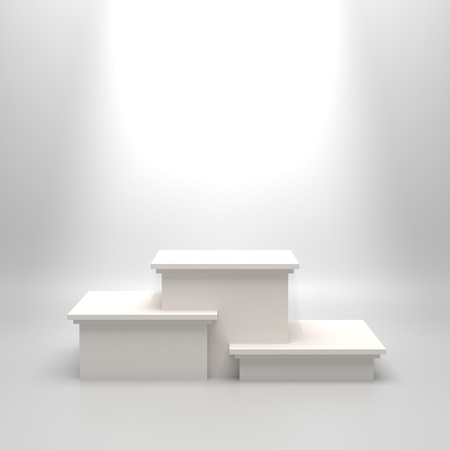 Empty white illuminated podium. Blank template illustartion with space for an object, person, logo, text. Ranking, championship, contest or ceremony concept. Achievement in sport, business, education. Stock Photo