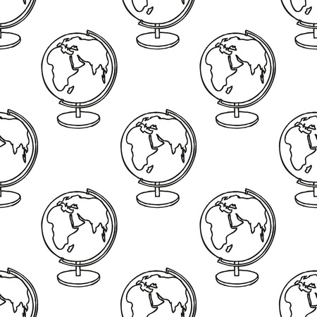 cartoon earth: Back to School doodle seamless pattern. Line art sketchy cartoon Earth Globe. Design element for wallpapers, web site background, wrapping paper, sale flyer, scrapbooking etc. Vector illustration Illustration