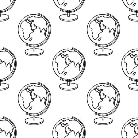 tierra caricatura: Regreso a la Escuela garabatear sin patr�n. L�nea de arte de dibujos animados incompleta Globo de la tierra. Elemento de dise�o para fondos de pantalla, de fondo p�gina web, papel de regalo, aviador de la venta, el scrapbooking etc Ilustraci�n vectorial Vectores