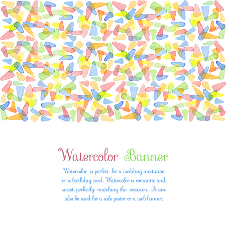 water color: Hand painted water color brush stains with text. Cute decorative template. Bright colorful border panels. Great for baby shower invitation, birthday card, scrapbooking etc. Vector illustration.