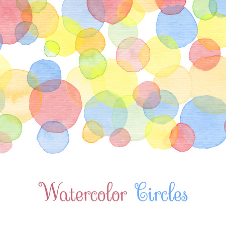 cute border: Hand painted water color circles with text. Cute decorative template. Bright colorful border panels. Great for baby shower invitation, birthday card, scrapbooking etc. Vector illustration.
