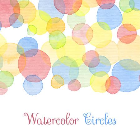 monas: Pintado a mano círculos de color del agua con el texto. Plantilla decorativa linda. Paneles fronterizas de colores brillantes. Gran para la invitación de la ducha del bebé, tarjeta de cumpleaños, el scrapbooking etc Ilustración vectorial.