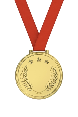gold medal: Gold medal with laurels, stars on a red ribbon. Round blank coin with ornaments. Victory, best product, service or employee, first place concept. Achievement in sports. Isolated on white background.