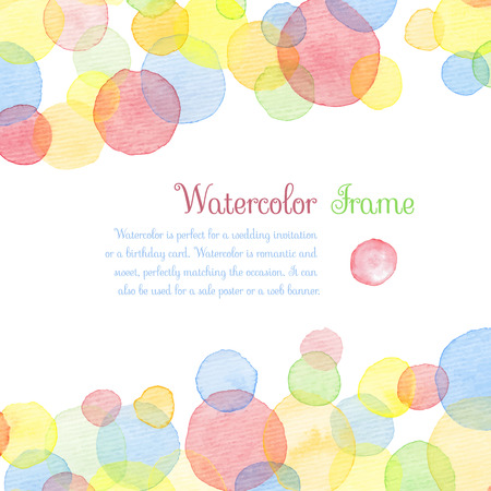 Hand painted water color circles with text. Cute decorative template. Bright colorful border panels. Great for baby shower invitation, birthday card, scrapbooking etc. Vector illustration.