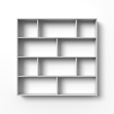 retail display: White shelves hanging on a wall with light and shadows. Blank template. Empty bookshelf, open display, retail store mock up.