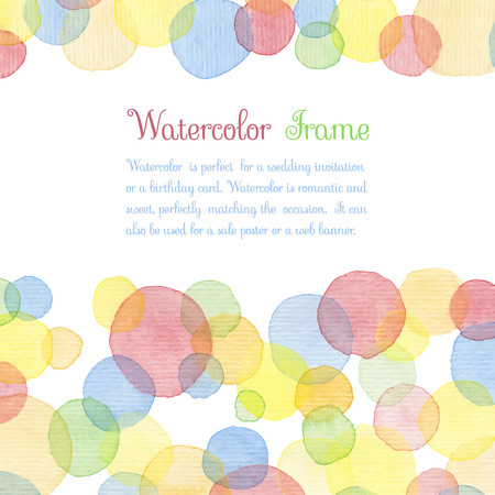 water color: Hand painted water color circles with text. Cute decorative template. Bright colorful border panels. Great for baby shower invitation, birthday card, scrapbooking etc. Vector illustration.