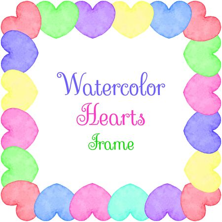 water color: Hand painted water color frame with hearts and text