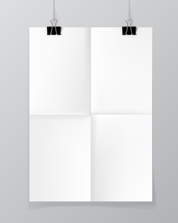 sheet of paper: Poster hanging on a thread with two black clips.
