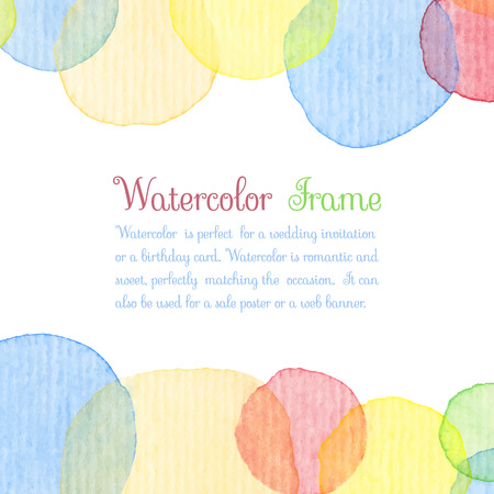 water color: Hand painted water color circles with text Illustration
