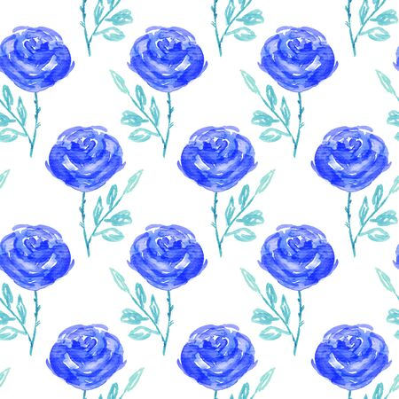 rose flowers: Seamless floral pattern. Hand painted rose flowers