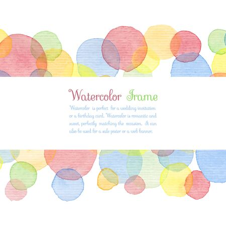 baby shower: Hand painted water color circles with text. Cute decorative template. Bright colorful border panels. Great for baby shower invitation, birthday card, scrapbooking etc. Vector illustration.