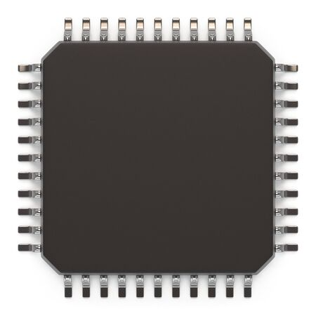 hard core: Microchip unit isolated on white, top view. Computer chipset circuit. Computer hardware parts concept. Technology, electronic industry, research and development, future gadgets concept.