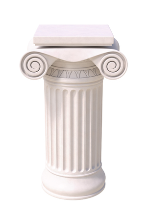 doric: Antique column in greek style. Front view. Isolated on white background. Stock Photo
