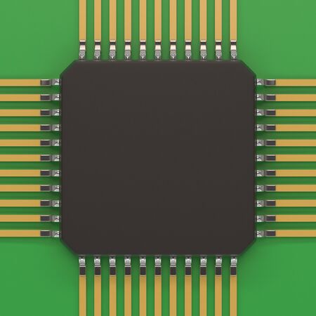 chipset: Microchip unit on green plate. Computer chipset circuit. Computer hardware parts concept. Technology, electronic industry, research and development, future gadgets concept. Stock Photo