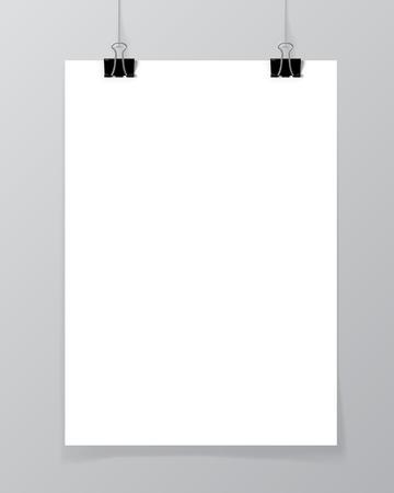 2 つの黒いクリップとスレッドに掛かっているポスター。コンクリート壁のモックアップに白紙。都会的なミニマリズム スタイル ポートフォリオ プ