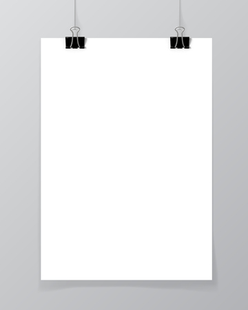 Poster hanging on a thread with two black clips. Blank sheet of paper against a concrete wall mock up. Urban minimalistic style portfolio presentation concept. Vector illustration.