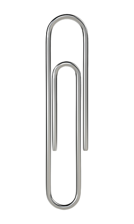 Paper clip isolated on white background. Realistic vector illustration.
