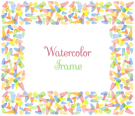 water color: Hand painted water color frame with text. Cute decorative template. Bright colorful border panels. Great for baby shower invitation, birthday card, scrapbooking etc. Vector illustration.