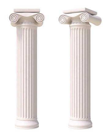 arte greca: Antiche colonne in stile greco. Vista frontale e laterale. Isolato su sfondo bianco.