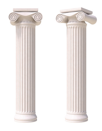 pillar: Antique columns in greek style. Front and side view. Isolated on white background.