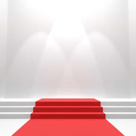 Red carpet on stairs. Empty white illuminated podium. Blank template illustration with space for an object, person, icon, text. Presentation, gala, ceremony, awards concept.