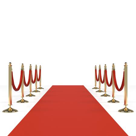 Rode loper met rode touwen op gouden rongen. Exclusief evenement, filmpremière, gala, ceremonie, awards concept. Lege sjabloon illustratie met ruimte voor een object, persoon, pictogram, tekst.