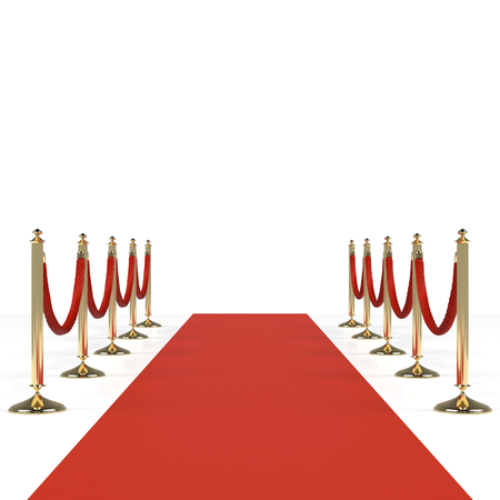 Red carpet with red ropes on golden stanchions. Exclusive event, movie premiere, gala, ceremony, awards concept. Blank template illustration with space for an object, person, icon, text. Stock Photo