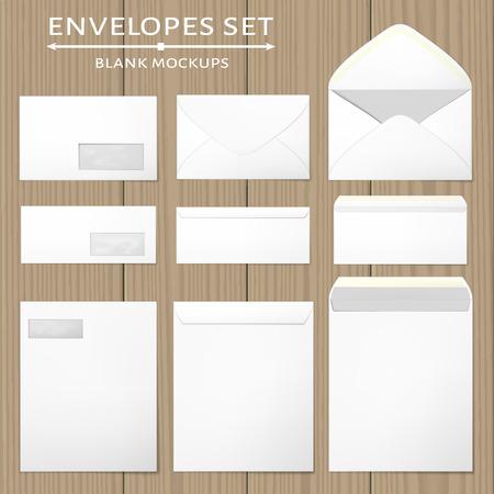 3 つの白い封筒を設定します。フロントとバック、オープンとクローズの 3 つのビューで空白のモックアップ。各封筒の前面の透明な窓を削除できま