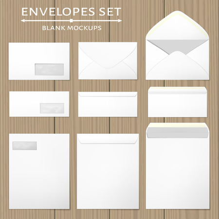 mail: Three white envelopes set. Blank mockups in three views, front and back, open and closed. Transparent window in the front of each envelope can be removed. Full and folded A4 size. Vector illustration.
