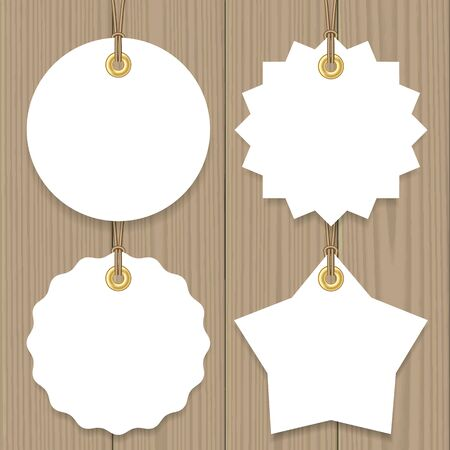 hang tag: Blank sale tags mock up set. Hang tags with a string. Round, star and badge shape. Shopping label with place for price and discount captions. Clearance sale template. Vector illustration. Illustration