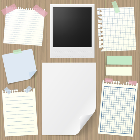 memo pad:  set of realistic sticky notes, lined and squared notebook papers, vintage photograph, blank sheet mock-up with pins and stickers. Place for text. Realistic wooden board background. Illustration