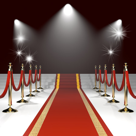Red carpet with red ropes on golden stanchions. Exclusive event, movie premiere, gala, ceremony, awards concept. Blank template illustration with space for an object, person,