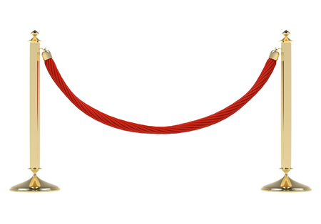 rope barrier: Red rope on golden stanchion isolated on white. Exclusive event, movie premiere, gala, ceremony, awards concept. Blank template illustration with space for an object, person  Stock Photo
