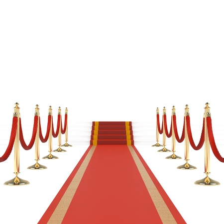 gala: Red carpet with red ropes on golden stanchions. Exclusive event, movie premiere, gala, ceremony, awards concept. Blank template illustration with space for an object, person, text.