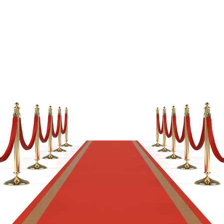 red and white: Red carpet with red ropes on golden stanchions. Exclusive event, movie premiere, gala, ceremony, awards concept. Blank template illustration with space for an object, person, text.