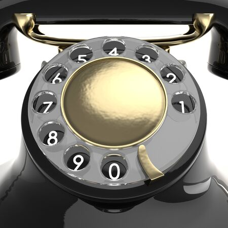 corded: Vintage black telephone isolated on white. Retro 1940 - 1950 phone with rotary dial.