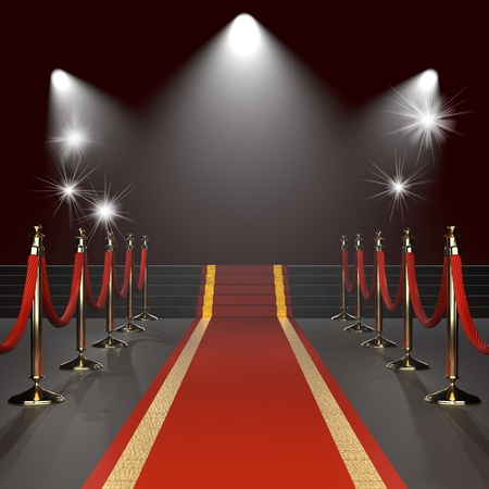 Red carpet with red ropes on golden stanchions. Exclusive event, movie premiere, gala, ceremony, awards concept. Blank template illustration with space for an object, person, text.