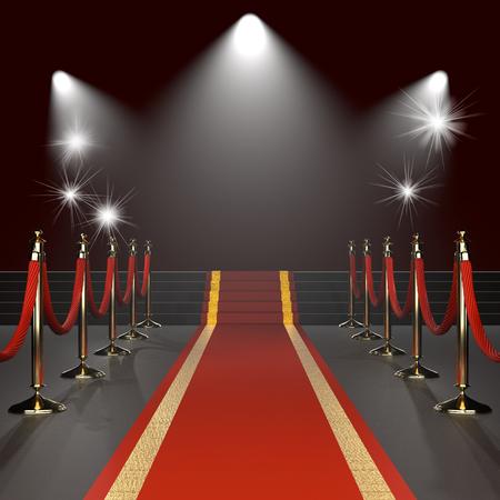 Tappeto rosso con corde rosse su steli dorati. evento esclusivo, prima di un film, di gala, cerimonia, i premi concept. Illustrazione di vuoto modello con lo spazio per un oggetto, persona, il testo.