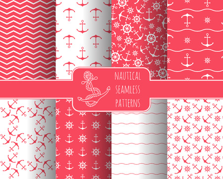 birthday card: Seamless nautical patterns set with anchors ship wheels. Design element for wallpapers, baby shower invitation, birthday card, scrap booking, fabric print etc.